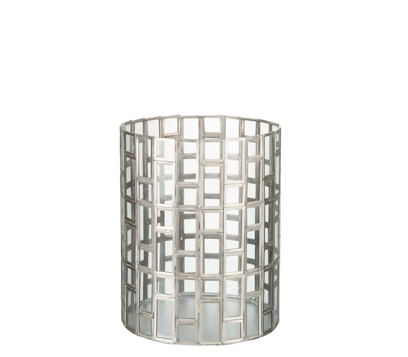HURRICANE ROUND GEO SILVER & GLASS