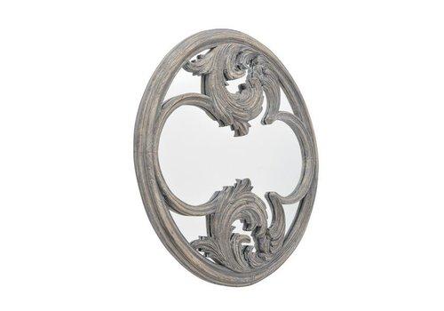 Homestore Roxborough Mindi Round Hand Carved Wooden Mirror