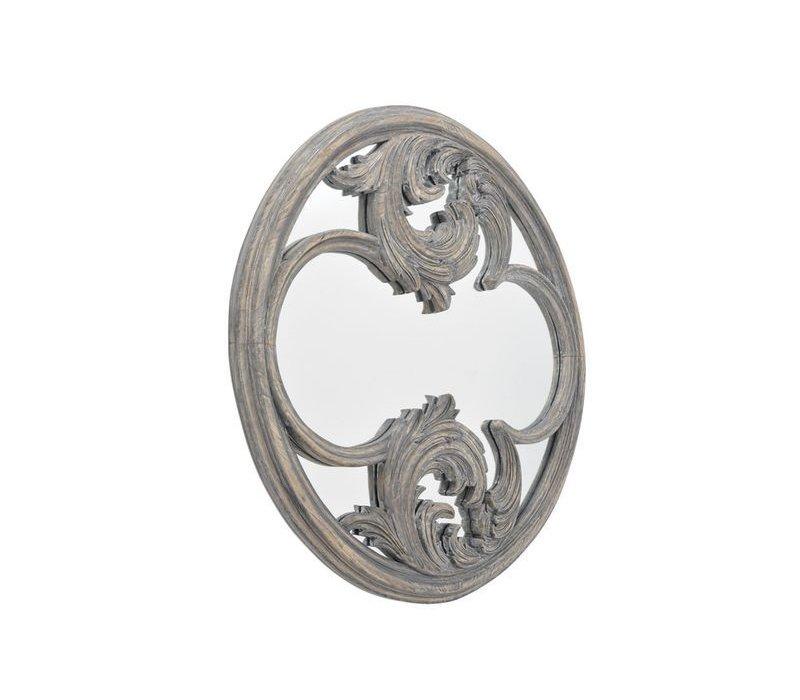 Roxborough Mindi Round Hand Carved Wooden Mirror