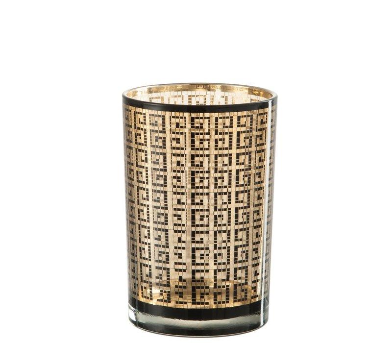 HURRICANE MODERN GLASS BLACK & GOLD (L)