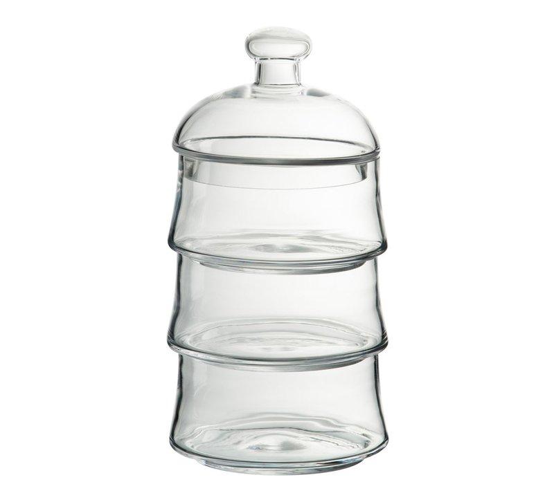 STORAGE JAR LID 3 LEVELS GLASS