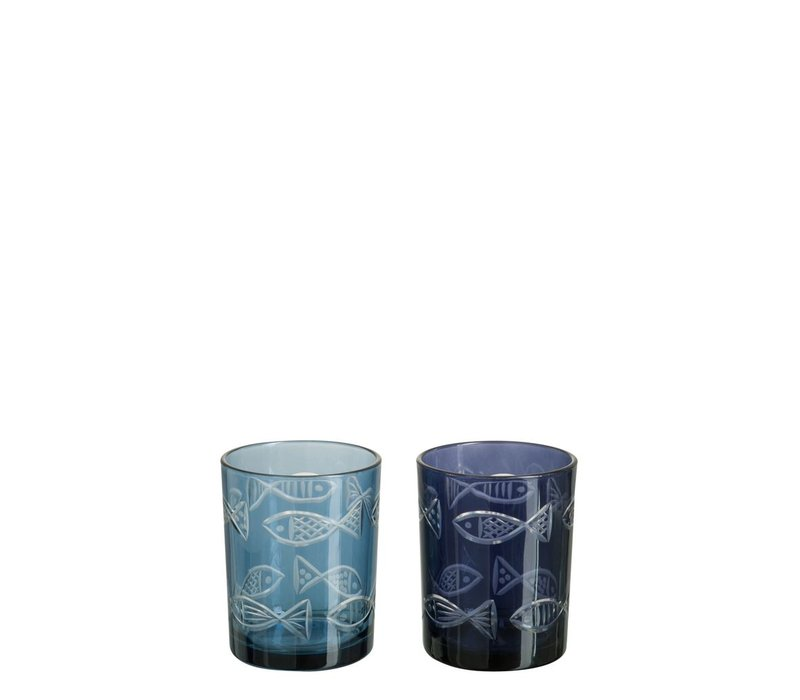 HURRICANE FISH GLASS ASSORTED BLUE (S)