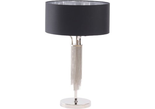 Homestore Langan Table Lamp In Nickel With Black Shade