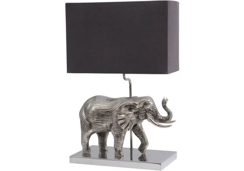 Homestore Antique Silver Elephant Lamp With Black Shade