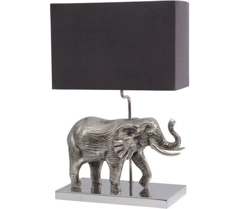 Antique Silver Elephant Lamp With Black Shade