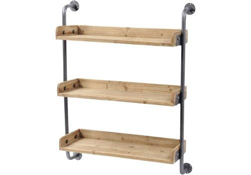 Homestore Moresby Fir Wood 3 Shelf Wall Unit