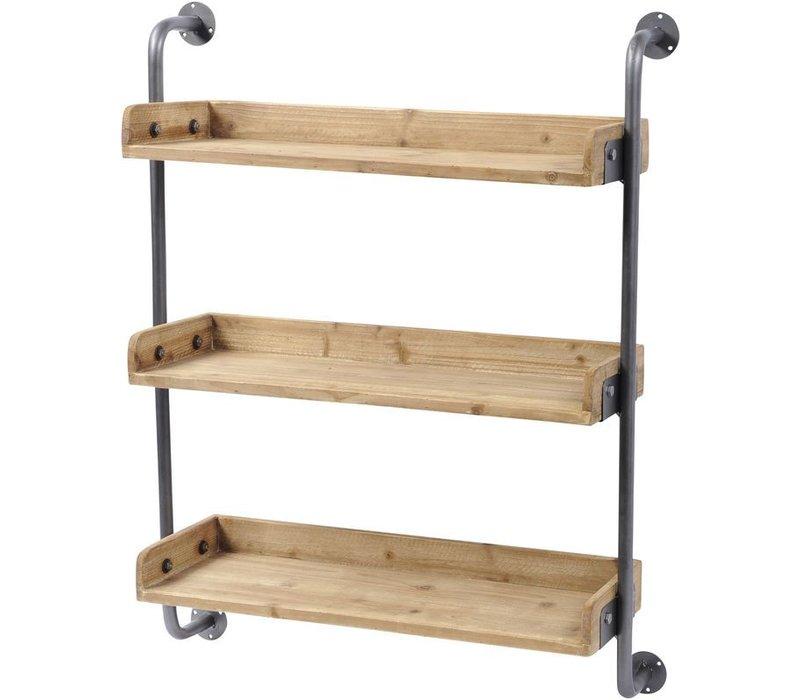Moresby Fir Wood 3 Shelf Wall Unit
