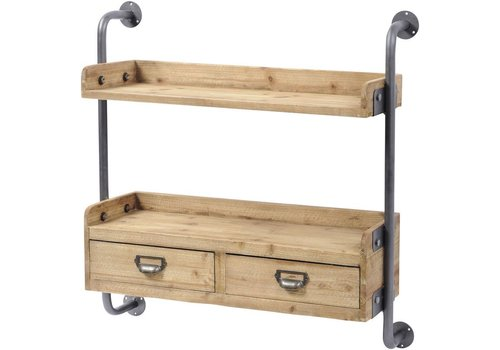 Homestore Moresby Fir Wood Shelving Unit With 2 Drawers
