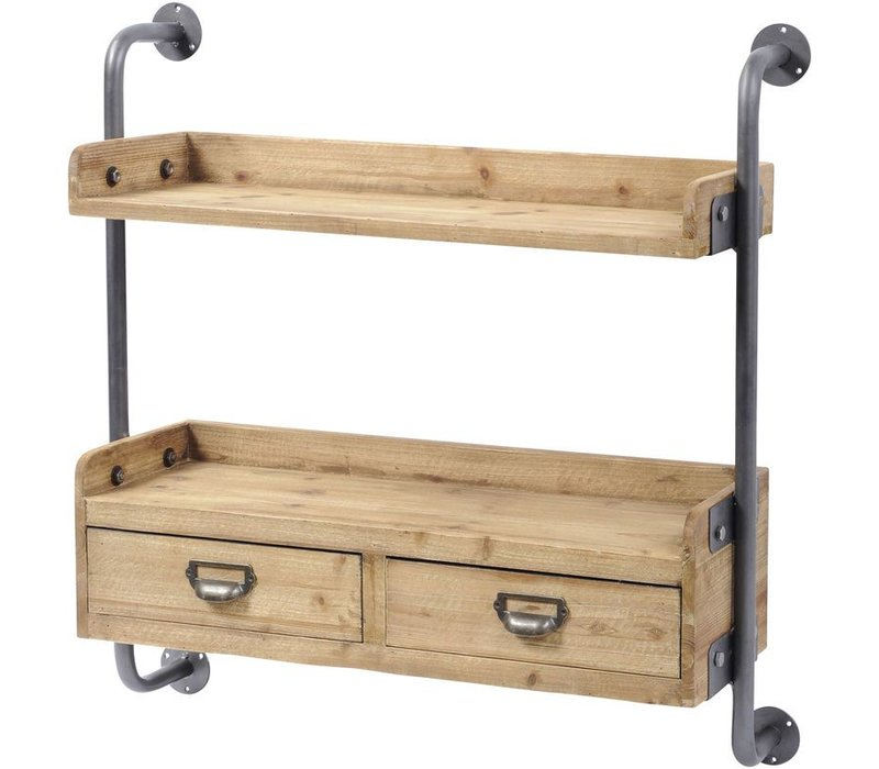 Moresby Fir Wood Shelving Unit With 2 Drawers