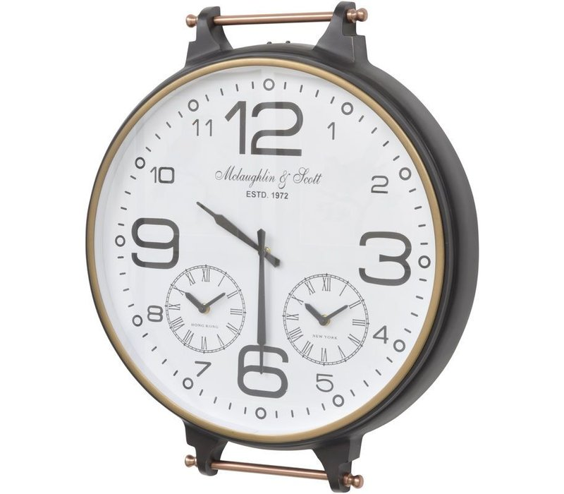 Bronze and Copper World Timer Fob Wall Clock