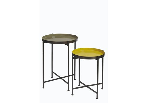 Homestore FAVORIT'-  set 2 trays on stand  in green & yellow