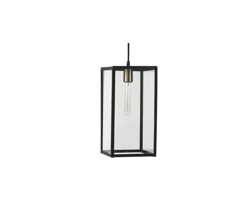 FACTORY hanging lamp in black metal & glass
