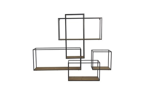 Homestore STRUCTURE wall rack in black metal & natural wood