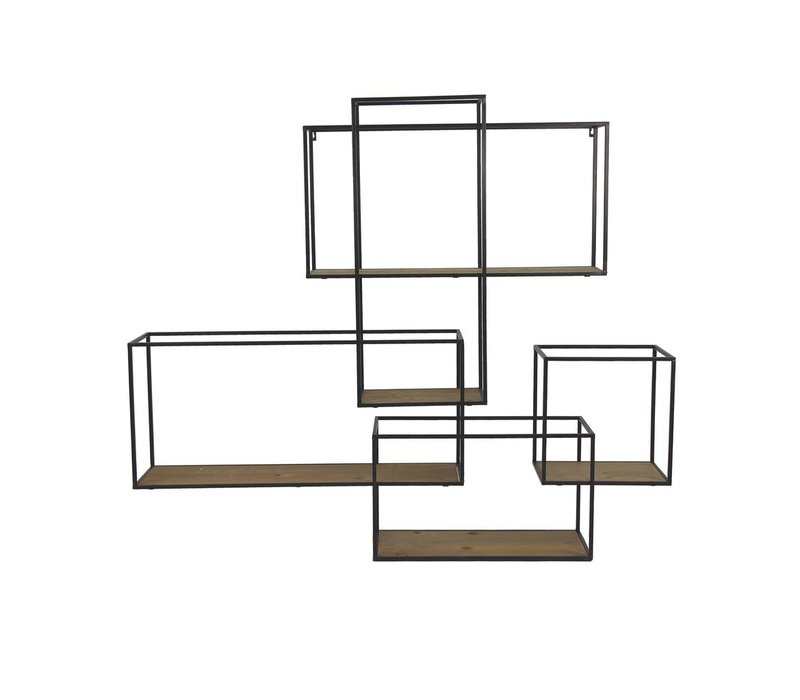 STRUCTURE wall rack in black metal & natural wood
