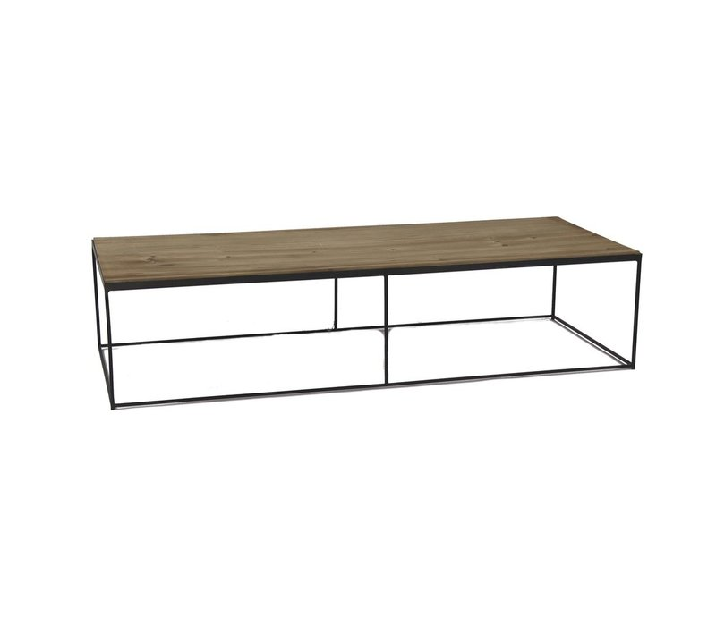STRUCTURE coffee table in black metal & natural wood