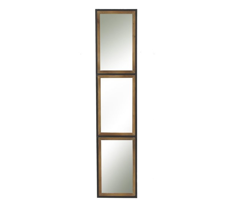 STRUCTURE 3 part mirror in metal & wood - L 27x130x3cm