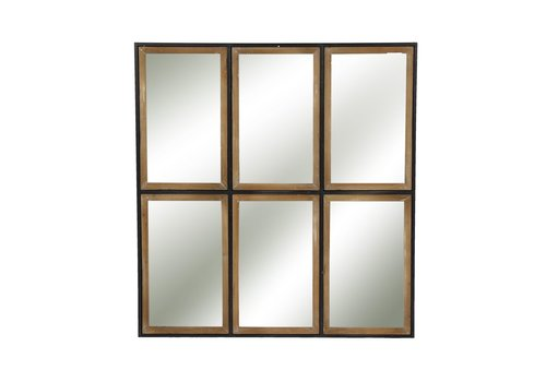 Homestore STRUCTURE 6 part mirror in metal & wood - XL 81x88x3cm