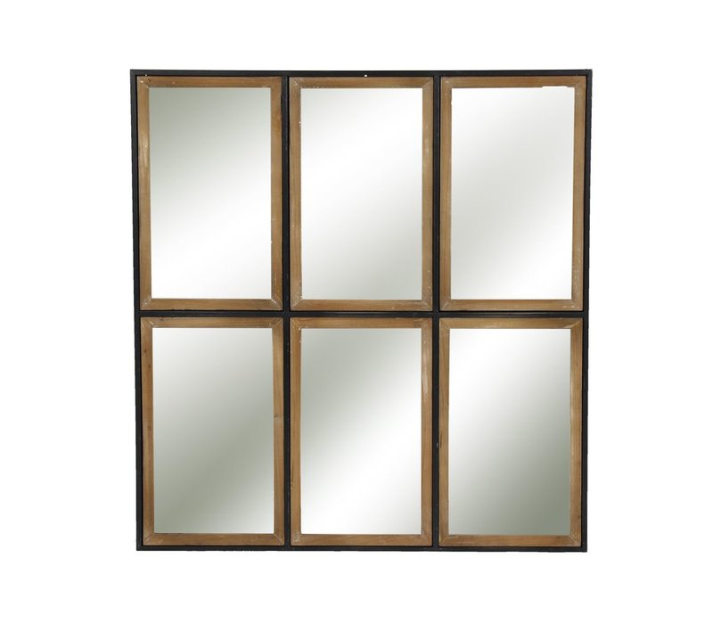 STRUCTURE 6 part mirror in metal & wood - XL 81x88x3cm