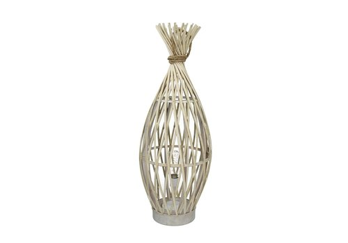 Homestore IRENE lamp on battery in bamboo & rope L - 24xh65 cm