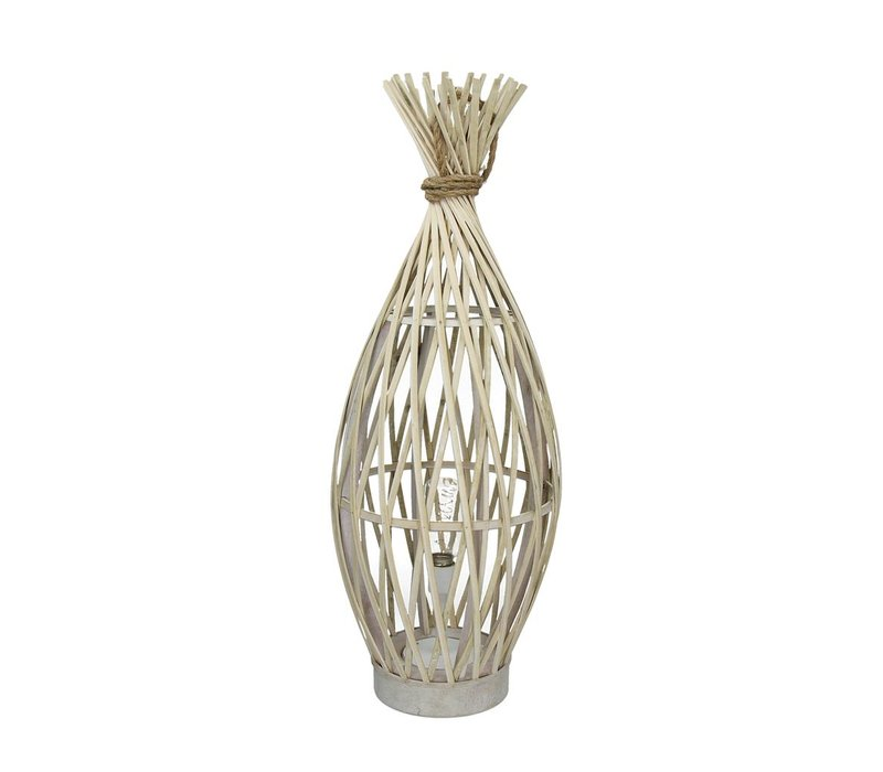 IRENE lamp on battery in bamboo & rope L - Ø24xh65 cm