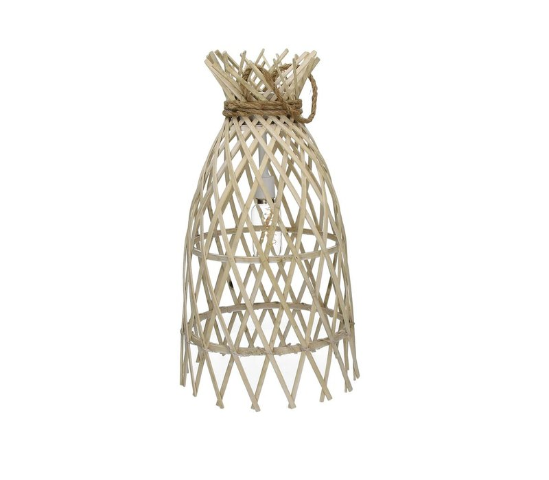 IRENE hanging lamp on battery in bamboo & rope M - 27xh50 cm