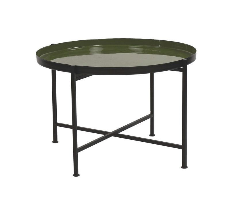 FAVORIT' tray on stand in Olive - 63x63x40