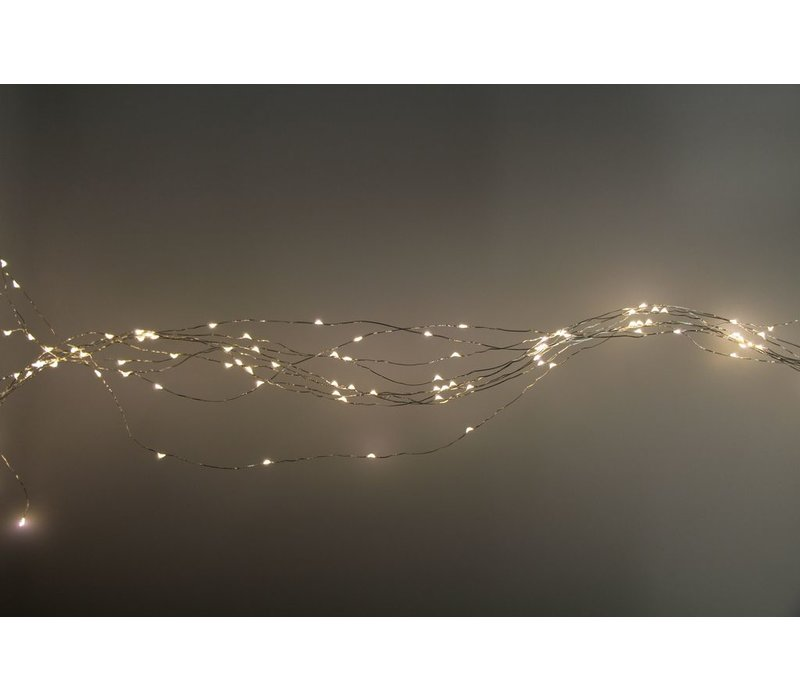 GLITTER light chain 200 LEDS on silver wire  (3m)