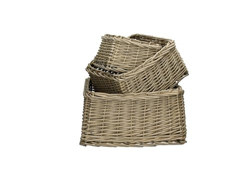 Homestore TWAN  set of 3 square willow baskets in grey