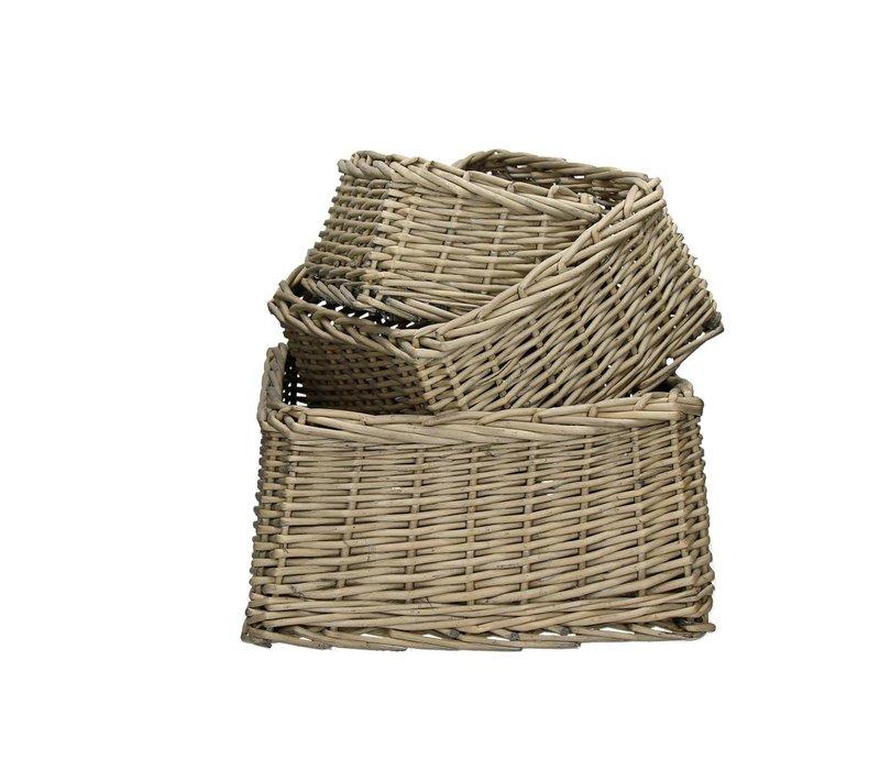 TWAN  set of 3 square willow baskets in grey