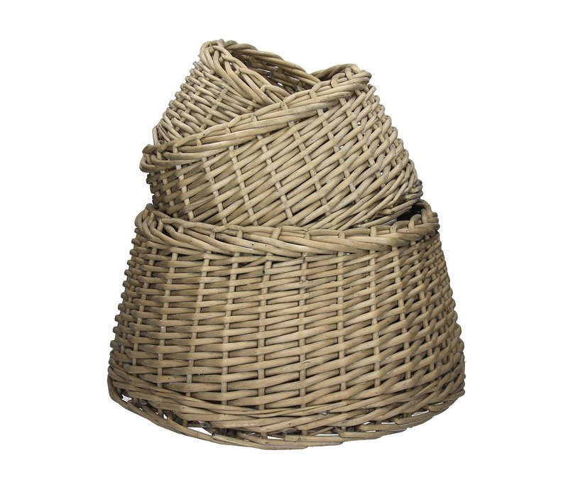 TWAN - set of 3 round baskets in grey willow