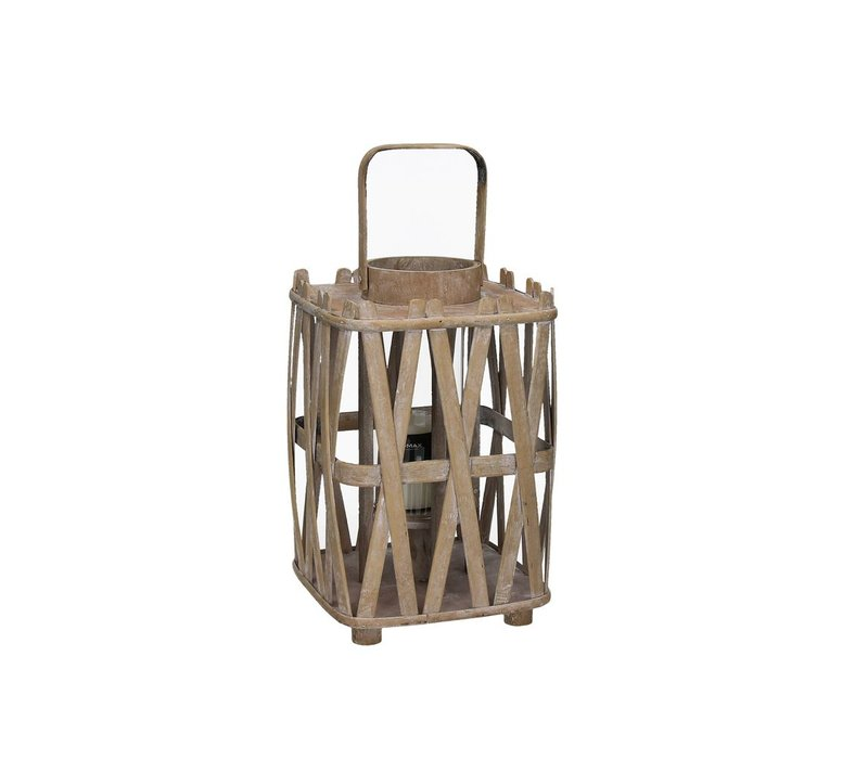 BIBA lantern innatural wood Small