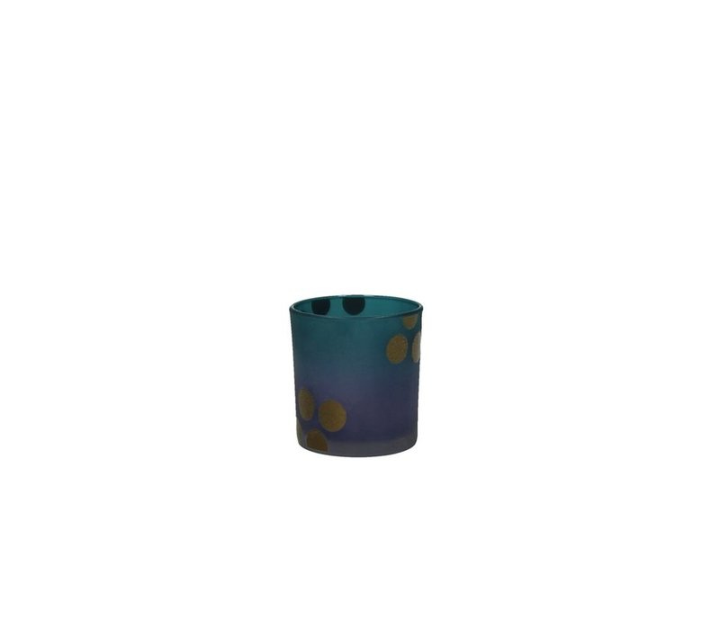 MITSUKO T-Light Holder gold dots on blue Small