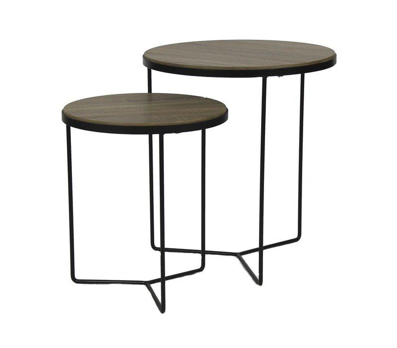 MISO setof 2 coffee tables - oak veneer