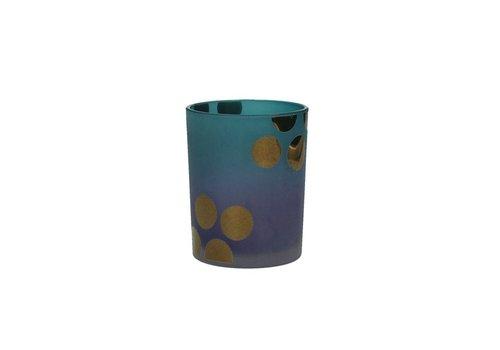 Homestore MITSUKO T-Light Holder in blue with gold dots Medium
