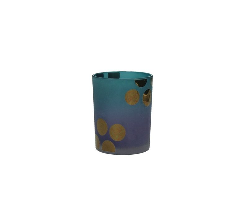 MITSUKO T-Light Holder in blue with gold dots Medium