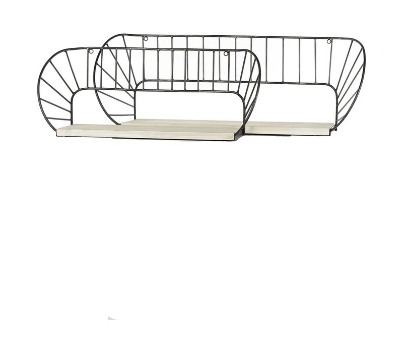 GRAPHIC set of 2 shelves with pawlonia wood