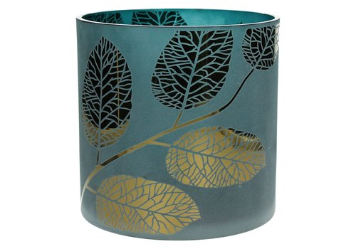 Homestore POETIC T-Light Holder blue with gold leaves - Large