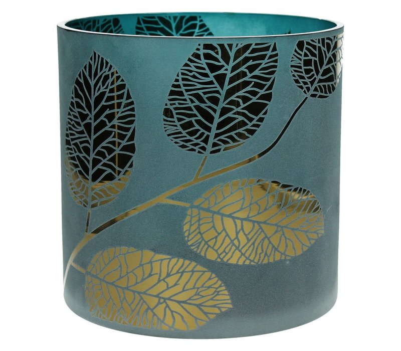 POETIC T-Light Holder blue with gold leaves - Large