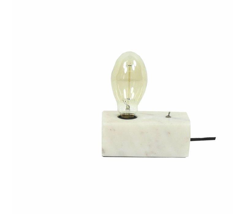 PAROS Table lamp in marble white - E27