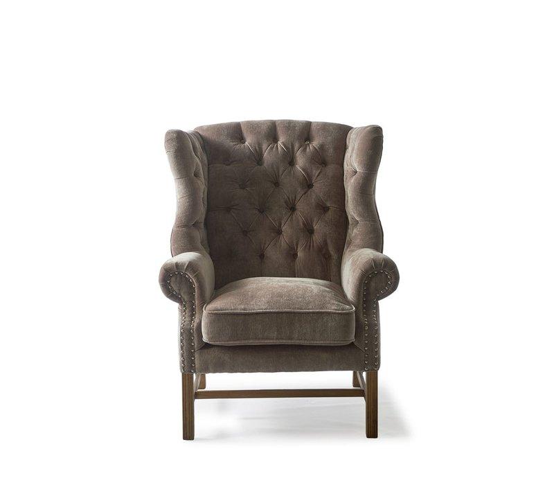 Franklin Park Wing Chair, Velvet, Dolphin