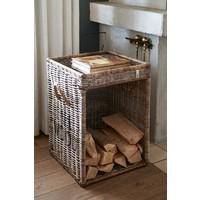Rustic Rattan Fire Wood Basket