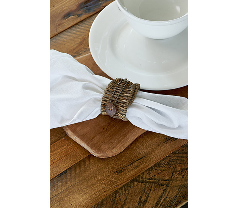 Rustic Rattan Folding Napkin Ring