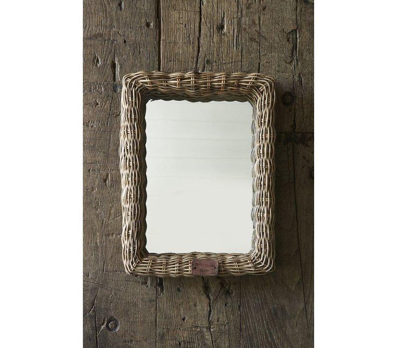 Rustic Rattan Shadow Mirror