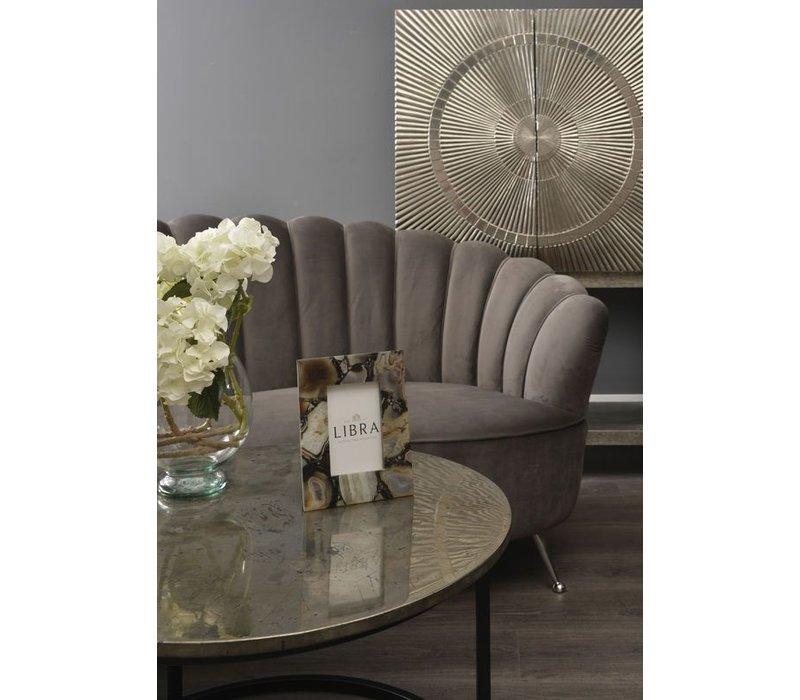 Sasha Soft Mid Grey Velvet Two Seater Shell Sofa