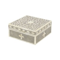 Petals Grey Bone Inlaid Square Jewellery Box