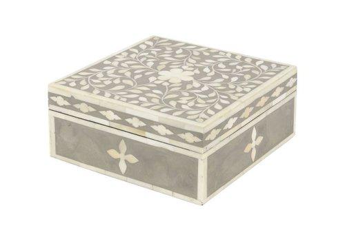 Homestore Petals Grey Bone Inlaid Square Jewellery Box