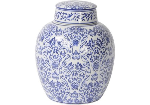 Homestore Chinoiserie Blue And White Ceramic Flat Top Jar