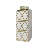 Gold And White Linear Print Ceramic Jar