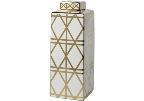Homestore Gold And White Linear Print Ceramic Jar