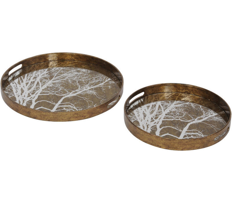 Vienna Antique Gold Set Of 2 Tree Trays